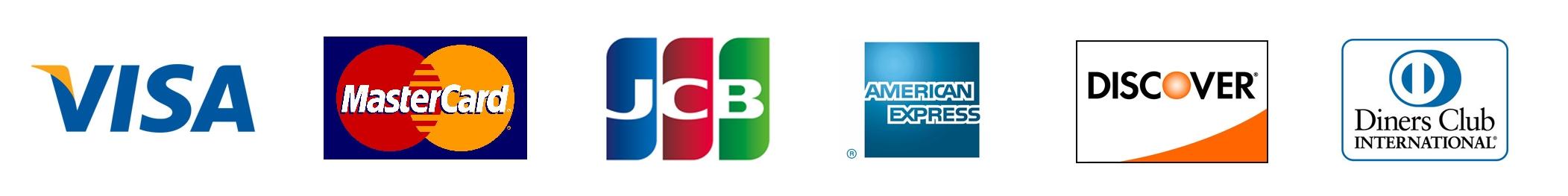 VISA(ビザカード)、MasterCard(マスターカード)、American Express(アメックス)、JCB(ジェーシービーカード)、Diners Club(ダイナーズクラブ)、Discover(ディスカバーカード)、JCB(ジェーシービーカード)、Diners Club(ダイナーズクラブ)、Discover(ディスカバーカード)